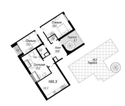 3-комнатная квартира №27 в: Meltzer Hall: 165.3 м²; этаж: 8 - купить в Санкт-Петербурге
