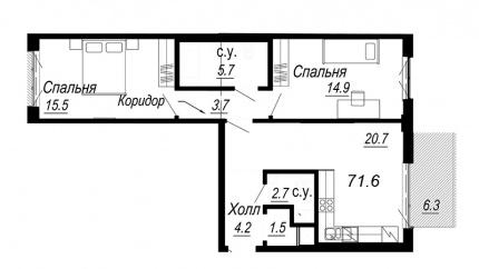 2-комнатная квартира №27 в: Meltzer Hall: 71.6 м²; этаж: 3 - купить в Санкт-Петербурге