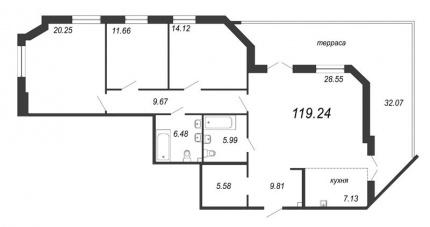 3-комнатная квартира, 128.86 м²; этаж: 2 - купить в Санкт-Петербурге