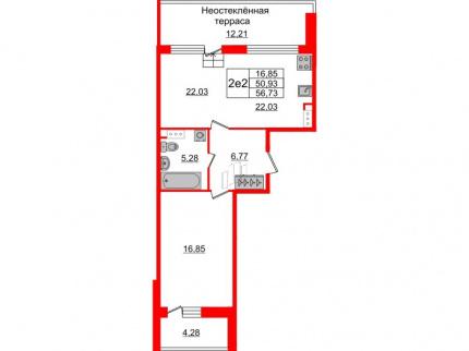 1-комнатная квартира №66 в: Притяжение: 50.93 м²; этаж: 9 - купить в Санкт-Петербурге