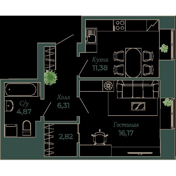 1-комнатная квартира, 42 м²; этаж: 3 - купить в Санкт-Петербурге
