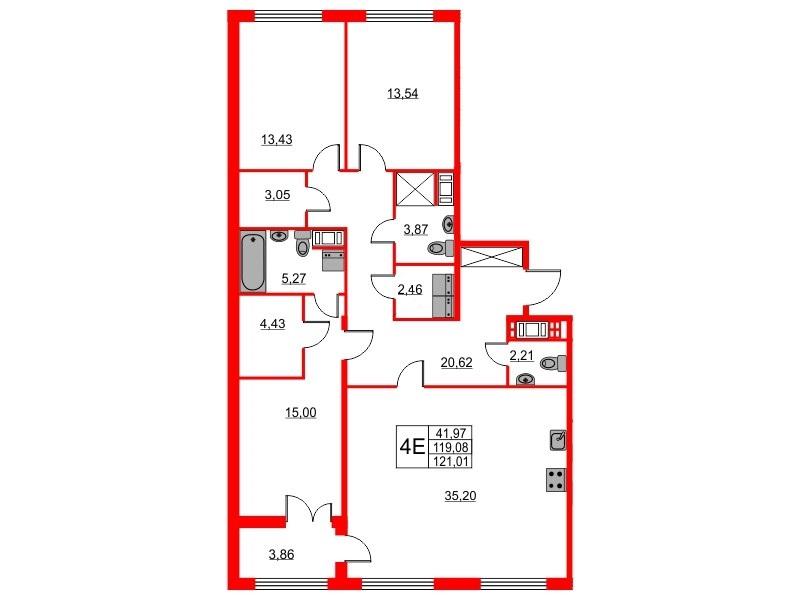 3-комнатная квартира, 119.08 м²; этаж: 6 - купить в Санкт-Петербурге