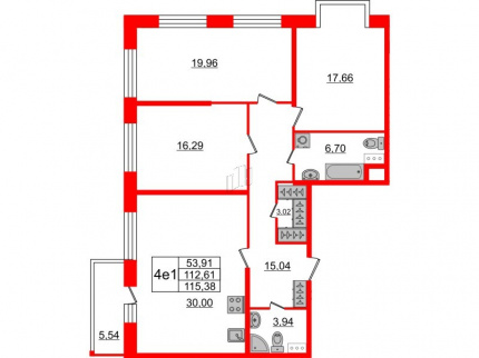 3-комнатная квартира, 112.61 м²; этаж: 5 - купить в Санкт-Петербурге