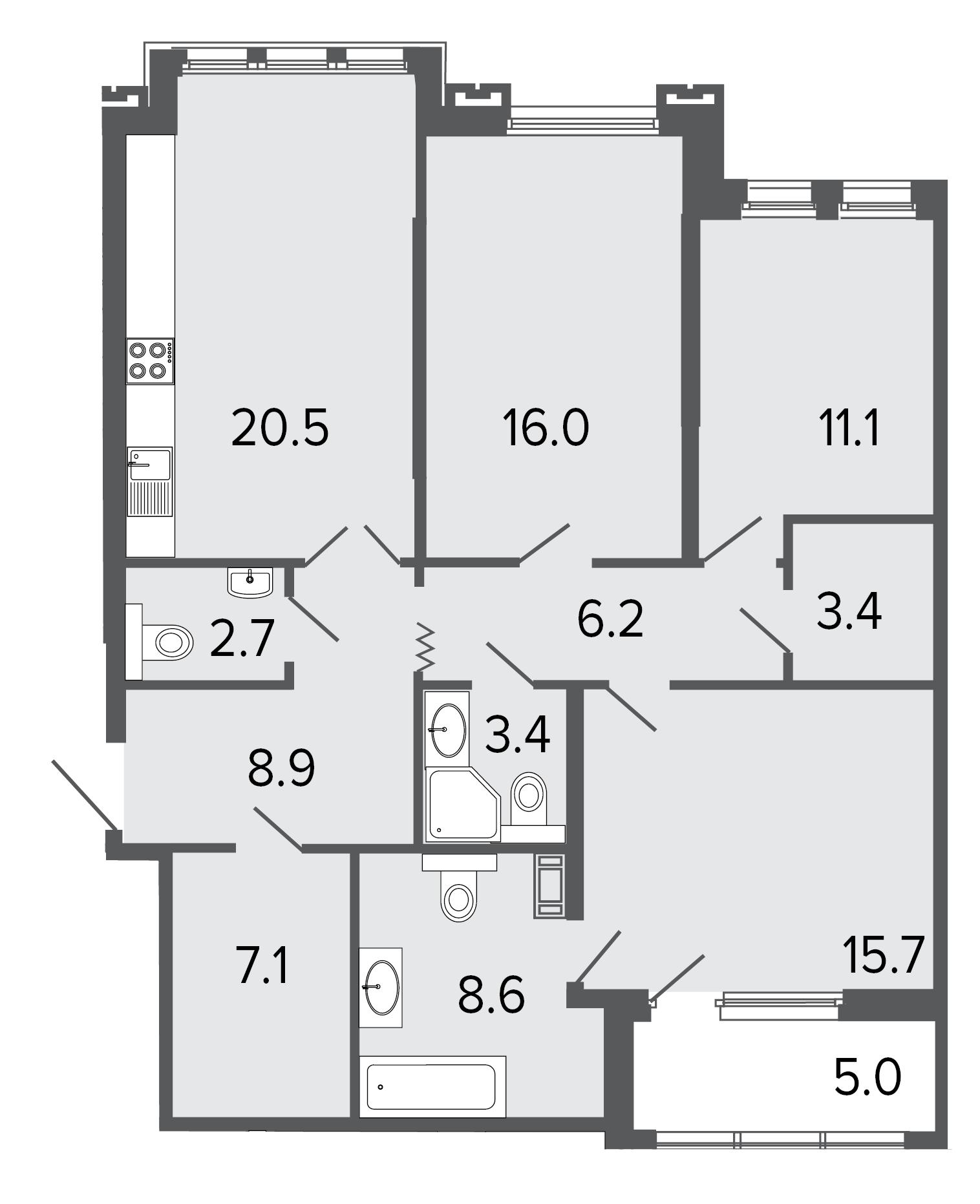 3-комнатная квартира, 103.6 м²; этаж: 3 - купить в Санкт-Петербурге
