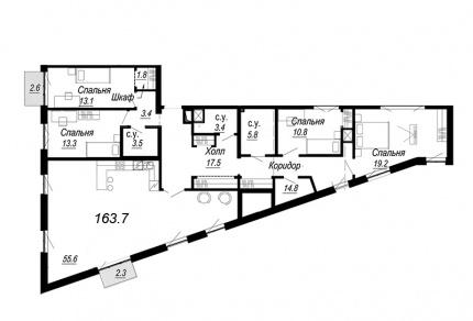 4-комнатная квартира  №31-6 в Meltzer Hall : 163.7 м², этаж 6 - купить в Санкт-Петербурге
