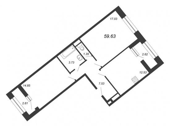 2-комнатная квартира № в: NEW TIME: 59.63 м²; этаж: 2 - купить в Санкт-Петербурге