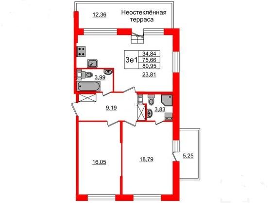 2-комнатная квартира, 75.66 м²; этаж: 9 - купить в Санкт-Петербурге