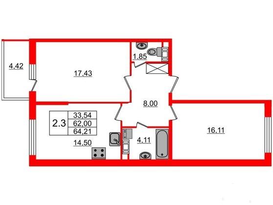 2-комнатная квартира №66 в: Притяжение: 62 м²; этаж: 9 - купить в Санкт-Петербурге
