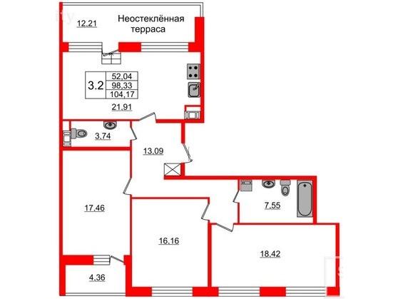 3-комнатная квартира, 98.33 м²; этаж: 9 - купить в Санкт-Петербурге
