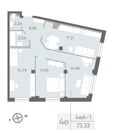 3-комнатная квартира №17А в: Neva Residence: 73.33 м²; этаж: 3 - купить в Санкт-Петербурге