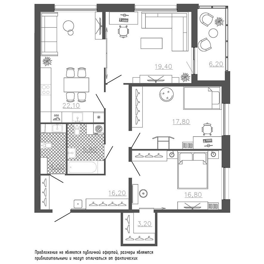 3-комнатная квартира №8к.1 в: Галактика Премиум: 108.2 м²; этаж: 2 - купить в Санкт-Петербурге