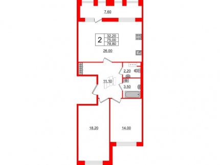 2-комнатная квартира №3 в: Светлана парк: 75 м²; этаж: 10 - купить в Санкт-Петербурге