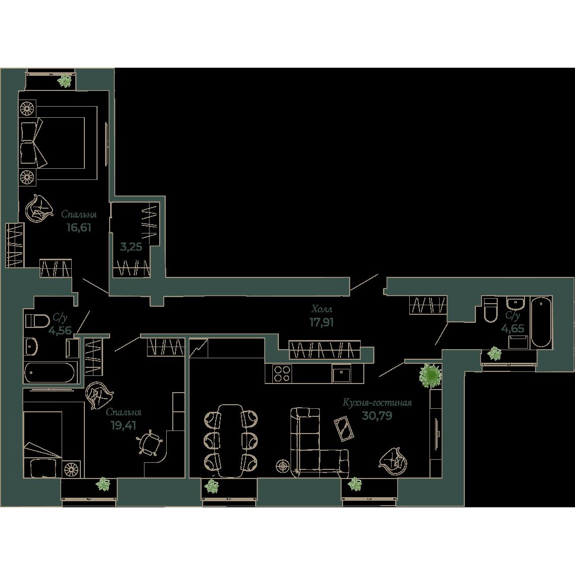 3-комнатная квартира, 97.9 м²; этаж: 2 - купить в Санкт-Петербурге