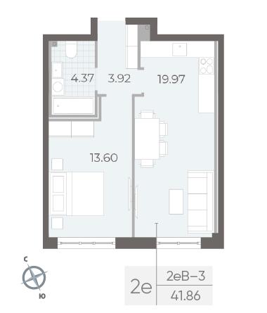 1-комнатная квартира №17А в: Neva Residence: 41.86 м²; этаж: 1 - купить в Санкт-Петербурге