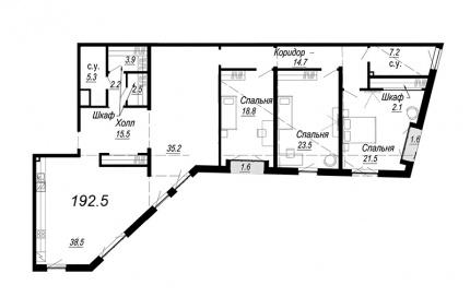 4-комнатная квартира №27 в: Meltzer Hall: 192.5 м²; этаж: 5 - купить в Санкт-Петербурге