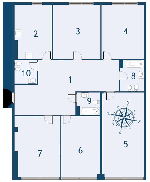 5-комнатная квартира №4 в: ЖК Fusion: 177.8 м²; этаж: 9 - купить в Санкт-Петербурге
