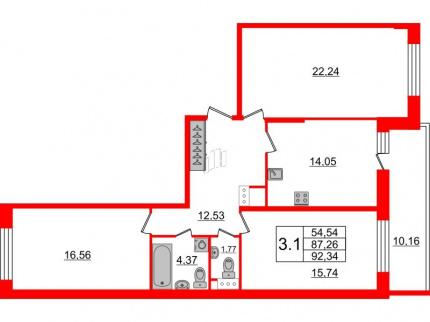 3-комнатная квартира, 87.26 м²; этаж: 3 - купить в Санкт-Петербурге