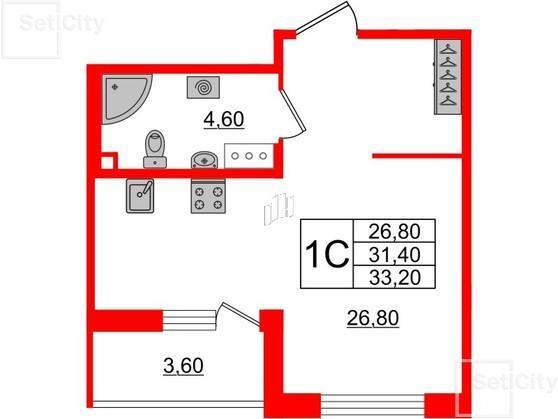 1-комнатная квартира №3 в: Светлана парк: 31.4 м²; этаж: 5 - купить в Санкт-Петербурге