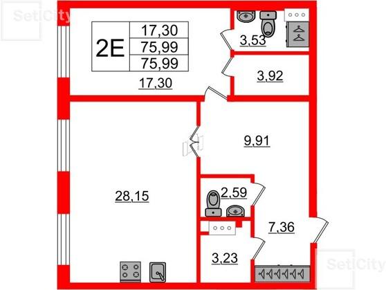 1-комнатная квартира, 76.5 м²; этаж: 1 - купить в Санкт-Петербурге