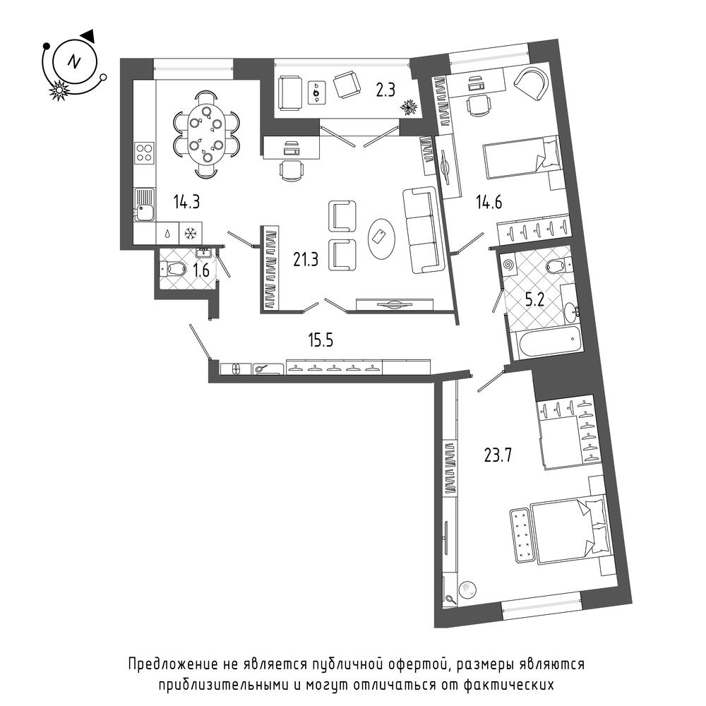 3-комнатная квартира №70 в: ЖК Эталон на Неве: 98.5 м²; этаж: 4 - купить в Санкт-Петербурге