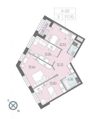 3-комнатная квартира, 77.7 м²; этаж: 5 - купить в Санкт-Петербурге