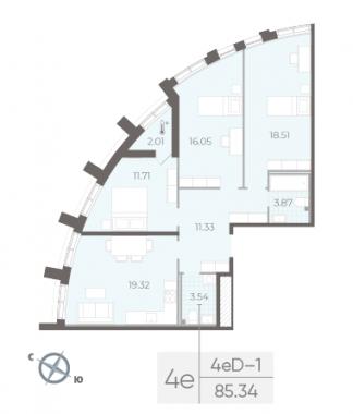 3-комнатная квартира №14 в:  Морская набережная.SeaView II очередь: 85.34 м²; этаж: 2 - купить в Санкт-Петербурге