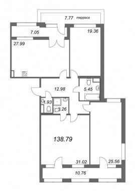 3-комнатная квартира, 138.79 м²; этаж: 7 - купить в Санкт-Петербурге
