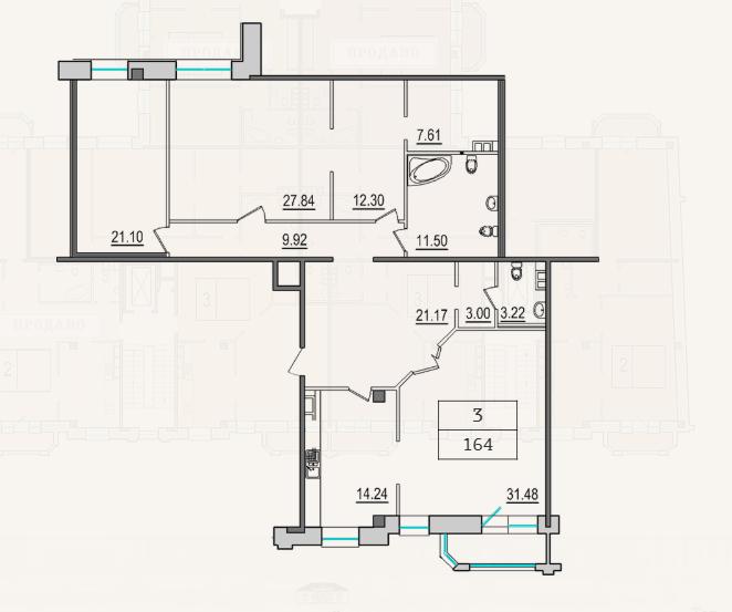 3-комнатная квартира №9 в: 4-я Советская, 9: 163 м²; этаж: 5 - купить в Санкт-Петербурге