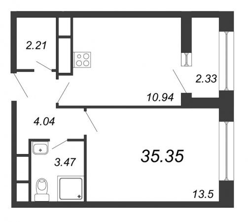 1-комнатная квартира № в: NEW TIME: 35.35 м²; этаж: 12 - купить в Санкт-Петербурге