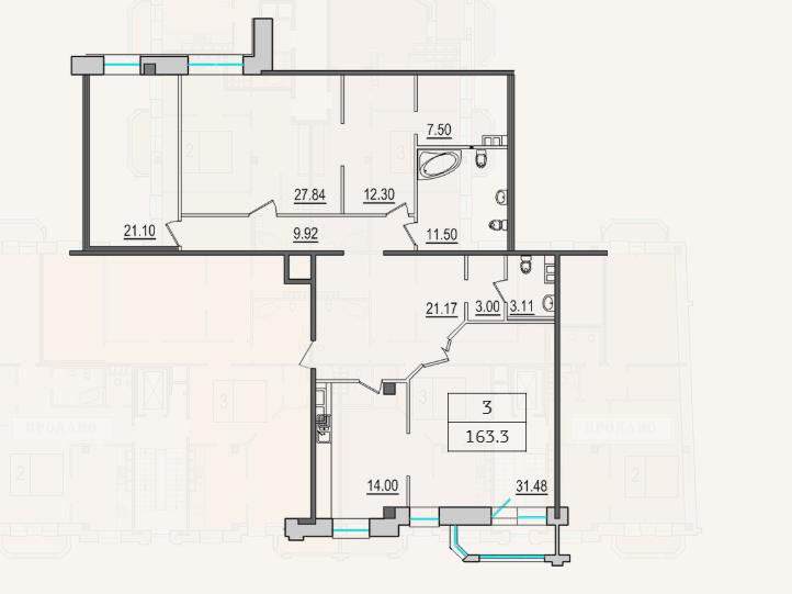 3-комнатная квартира №9 в: 4-я Советская, 9: 162.3 м²; этаж: 6 - купить в Санкт-Петербурге