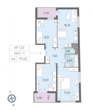 4-комнатная квартира, 79.65 м²; этаж: 15 - купить в Санкт-Петербурге
