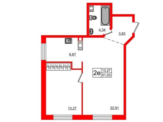2-комнатная квартира, 51.2 м²; этаж: 2 - купить в Санкт-Петербурге