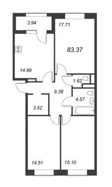 3-комнатная квартира, 83.37 м²; этаж: 4 - купить в Санкт-Петербурге