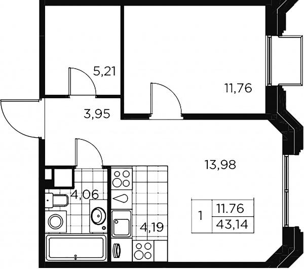 1-комнатная квартира, 43.14 м²; этаж: 4 - купить в Санкт-Петербурге