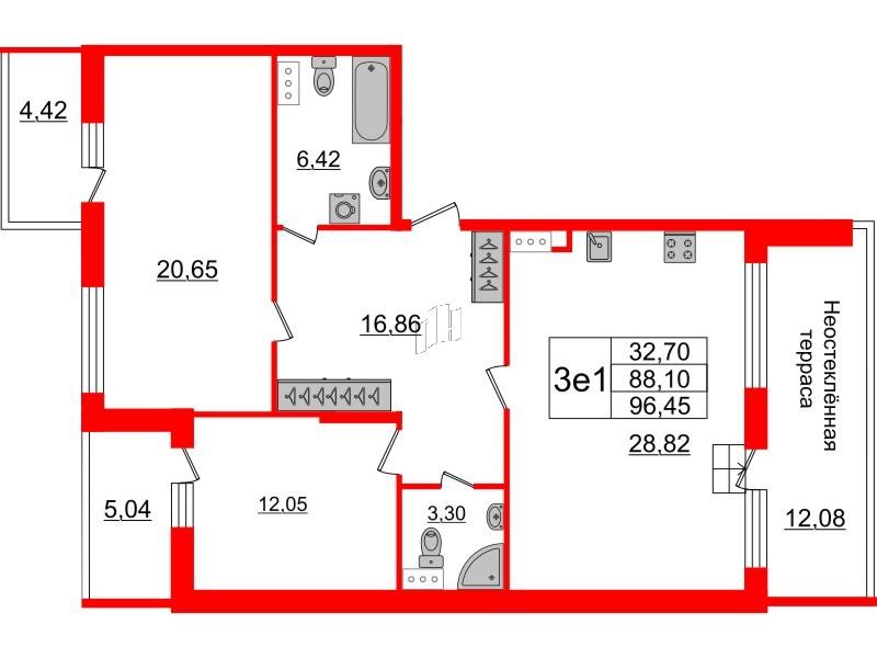 2-комнатная квартира №66 в: Притяжение: 88.1 м²; этаж: 9 - купить в Санкт-Петербурге