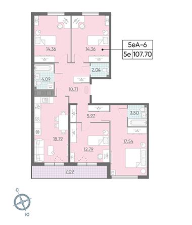 5-комнатная квартира, 107.7 м²; этаж: 14 - купить в Санкт-Петербурге
