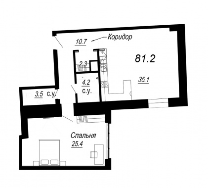 1-комнатная квартира №27 в: Meltzer Hall: 81.2 м²; этаж: 5 - купить в Санкт-Петербурге