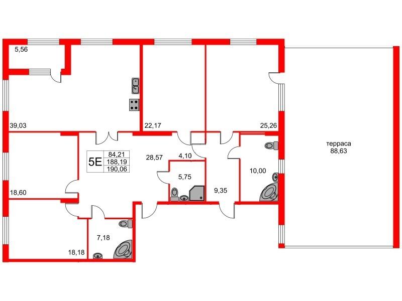 4-комнатная квартира, 217.56 м²; этаж: 2 - купить в Санкт-Петербурге