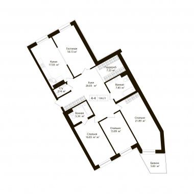 4-комнатная квартира, 136.46 м²; этаж: 6 - купить в Санкт-Петербурге