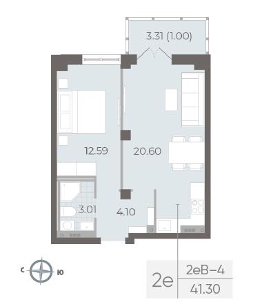 1-комнатная квартира №17А в: Neva Residence: 41.3 м²; этаж: 5 - купить в Санкт-Петербурге