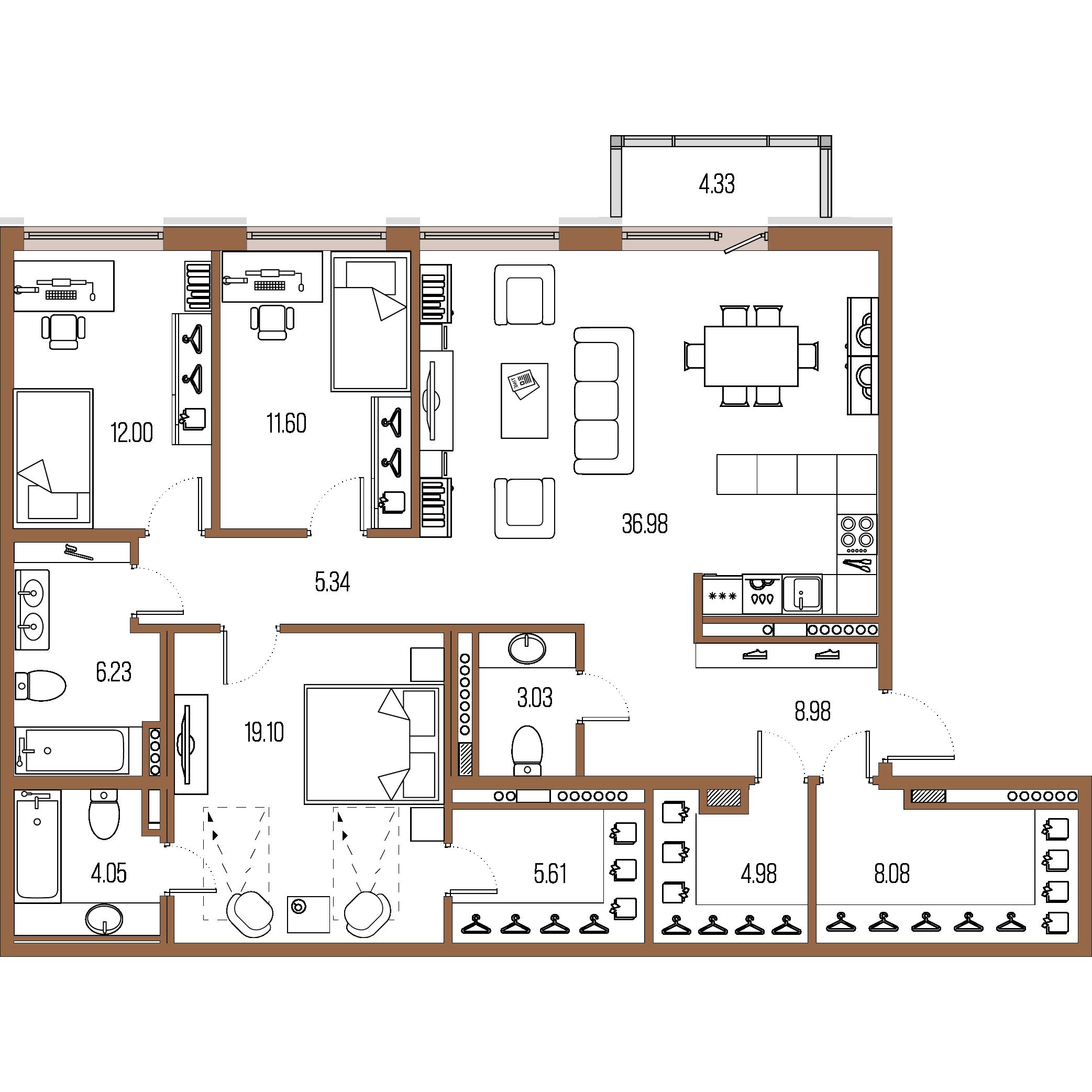 3-комнатная квартира, 125.98 м²; этаж: 8 - купить в Санкт-Петербурге