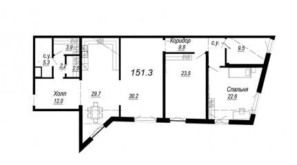 3-комнатная квартира, 151.3 м²; этаж: 4 - купить в Санкт-Петербурге