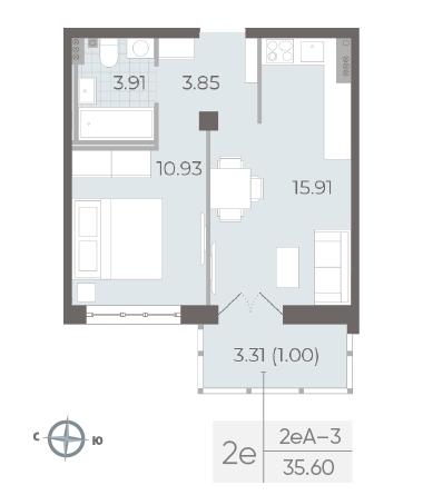 1-комнатная квартира №17А в: Neva Residence: 35.6 м²; этаж: 5 - купить в Санкт-Петербурге