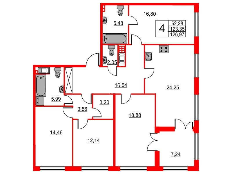 4-комнатная квартира, 123.35 м²; этаж: 3 - купить в Санкт-Петербурге