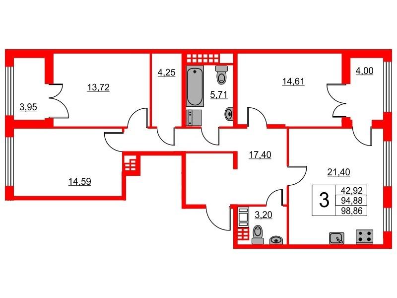3-комнатная квартира, 94.88 м²; этаж: 6 - купить в Санкт-Петербурге