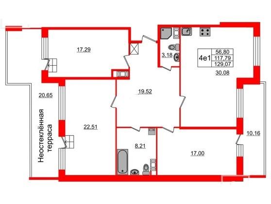 3-комнатная квартира, 117.79 м²; этаж: 9 - купить в Санкт-Петербурге