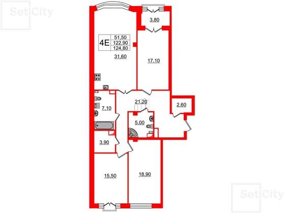 3-комнатная квартира, 122.9 м²; этаж: 3 - купить в Санкт-Петербурге