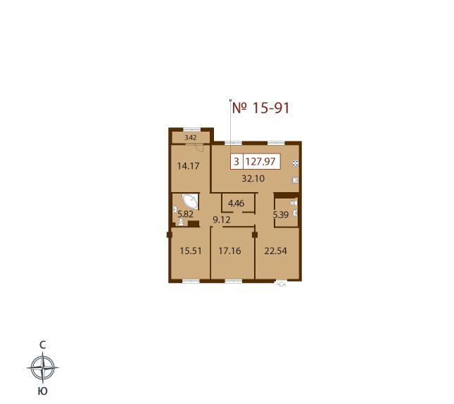 3-комнатная квартира №2 в: ЖК Русский дом: 126.9 м²; этаж: 9 - купить в Санкт-Петербурге