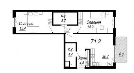 2-комнатная квартира №27 в: Meltzer Hall: 71.2 м²; этаж: 4 - купить в Санкт-Петербурге