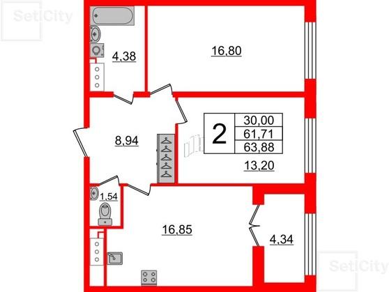 2-комнатная квартира, 61.71 м²; этаж: 8 - купить в Санкт-Петербурге